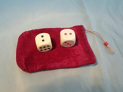 Vintage Pair Of Large Plastic Dice In Velvet Pouch, 1950's