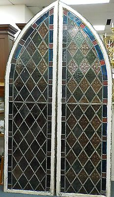 Monumental1850's Gothic Leaded Stained Glass Windows/ Castle Style Fleur Di Lis