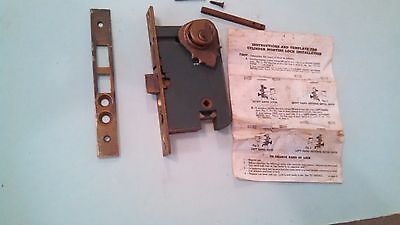 Antique Vintage Brass  Mortise Lock Set With Key