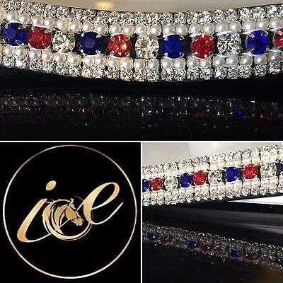 """Bling ICE 5 Row Crystal & Pearl Dressage Browband. Mega Sparkly 13""""-17"""" SALE"""
