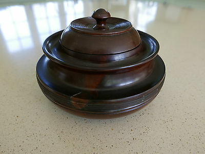Large Mid Victorian Finely Turned Lignum Vitae Lidded Pot - 1.25kg in Weight