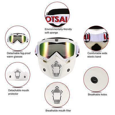 Cool Mortorcycle Snowboard Detachable Goggle Helmet Face Mask Mouth Filter K0F7