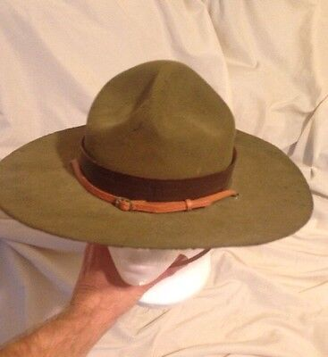 Rare Vtg BSA Boy Scouts Leader Campaign Hat Scout Master Leather Band 6 7/8