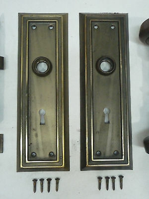 Antique Craftsman Door Knob, Plates and Lockset - C. 1910 Architectural Salvage