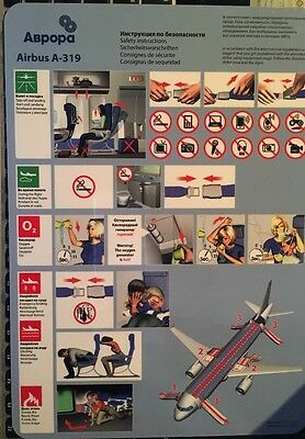 Safetycard Aurora Airlines Airbus A-319, Russia, Valid From 01.10.2013