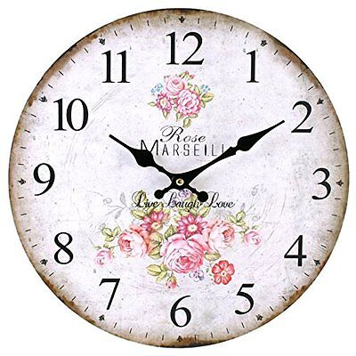 Count Vintage Rustic Frenchry Style Rose Flower Wall Clock Kitchen Shabby Chic N