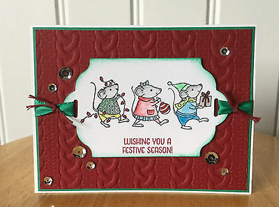 Christmas card kit -Christmas mouse w/ festive season - md w/ Stampin Up product