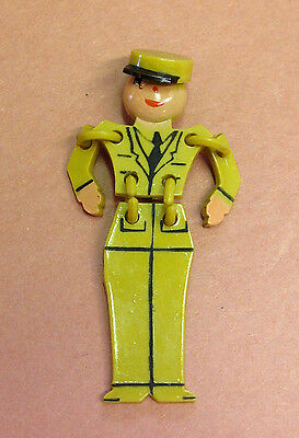 "Vintage WW2 1940's Articulated Celluloid ""Buddy"" Pin Brooch - MINT!"
