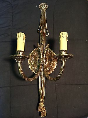 Vintage 2 Light Brass Sconce With Rope & Tassels...Loevsky L&LWMC