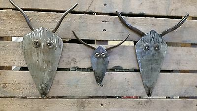Unique Hand made upcycled welded Christmas reindeer metal wall art. Set of 3.