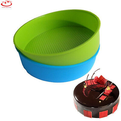 """10"""" Silicone Round Cake Mold Pan Muffin Bread Pizza Pastry Bakeware Tray Mould"""