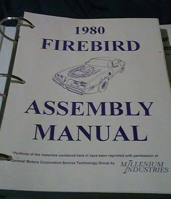 1980 Complete Firebird Assembly Manual Mint condition
