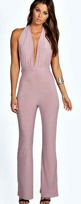 New Ladies Womens evening night out party Mauve Jumpsuit