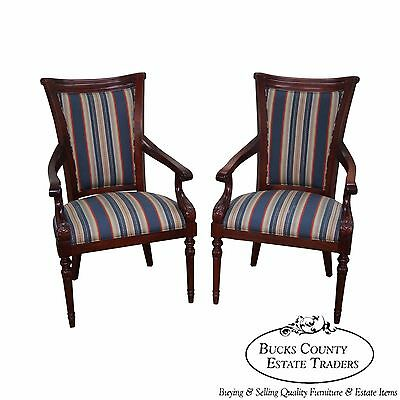 Solid Mahogany Pair of Regency Style Arm Chairs by New Mackenzie LTD
