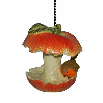 Resin Ornament Apple Core Feeder with Robin, (One supplied Red)
