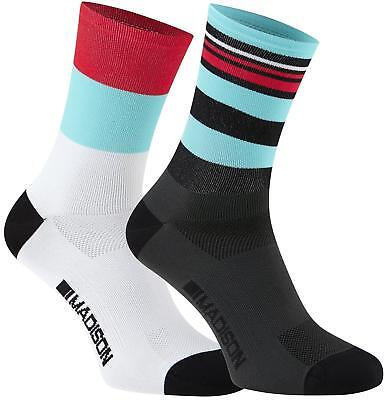Madison Sportive Long Cycling Socks Twin Pack Blue/Red
