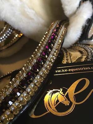 Bling ICE Dressage Browband. Purple & Gold Crystal Stones With Pearls. SALE
