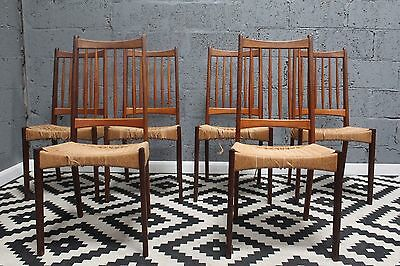 Set of six teak retro Danish high back cord dining chairs. £55 courier London