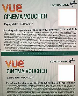 2 VUE Cinema Tickets/Vouchers for free entry to VUE - Expires 03/05/2017