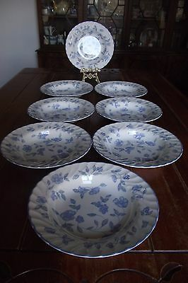 Set of 8 BHS British Home Stores 'Bristol Blue' 9'' inch Large Pasta Bowls VGC