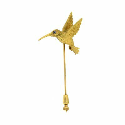 Hummingbird Stick Pin with Blue Stone Eye 18kt Yellow Gold