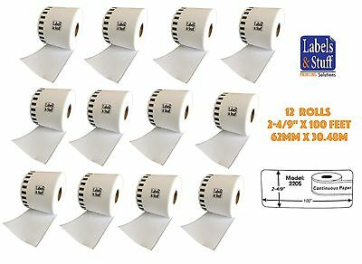 12 Rolls of DK-2205 Brother-Compatible (Continuous) Labels BPA FREE