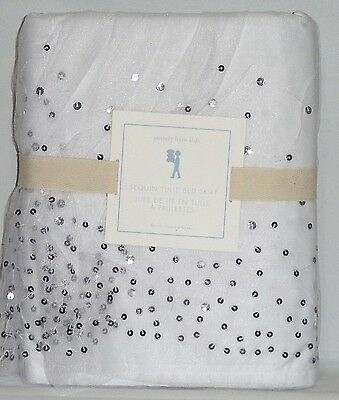 POTTERY BARN Sequin Tulle TWIN Bed Skirt, WHITE-SILVER, NEW