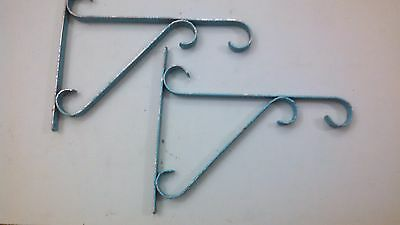"2  Vintage 11""   Support Shelf Brackets Chipped   Blue Paint"