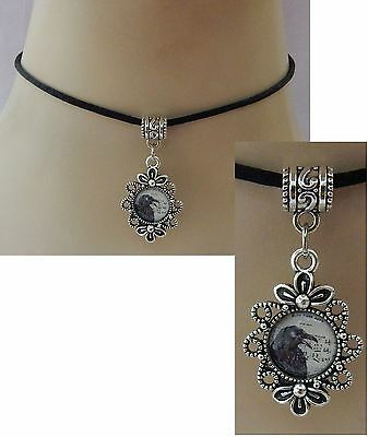 Silver Raven Pendant Choker Necklace Handmade Adjustable NEW Black Accessories