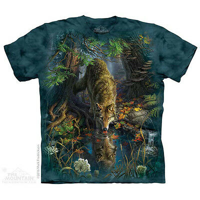 Enchanted Wolf Pool T-Shirt by The Mountain. Wild Wolf Wolves S-5X NEW