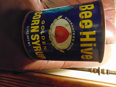 Beehive Syrup Tin With Lid 5 Lbs Size See Photos