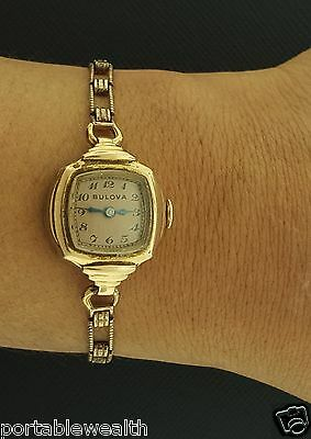 Vintage Bulova Ladies Wrist Watch 14K Rose Rolled Gold Filled/Plated Cal. 7AM