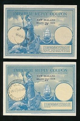 NEW ZEALAND IMPERIAL REPLY PAID COUPONS IRCs KG5 + KG6 1937 + 1950..BOTH 2 1/2d