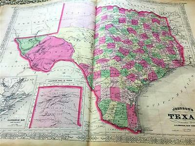 1866 Texas Atlas Map,indian Territory,johnson.civil War Era,original Antique