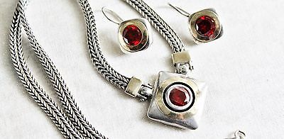 Etruscan Vintage Sterling & 10K Gold Woven Cable Chain Necklace & Earrings Set