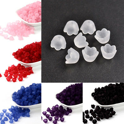 100pcs Transparnet Acrylic Flower Beads Smooth Frosted Loose Bead Cap Craft 10mm