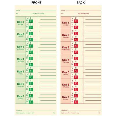 Lathem 3.5 in. x 9 in. Time Cards for 2121 Time Clocks 100 Double Sided Weekly
