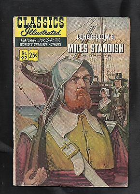 Classics Illustrated #92 G+   Hrn169  (Longfellow's Miles Standish)