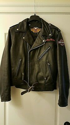 Harley Davidson Black Leather Quilted Lining Jacket  46