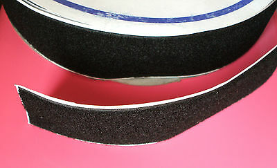 Loop Black Sticky Adhesive Tape 50mm  - Self Backing Fastner Strong Grip Per 1m