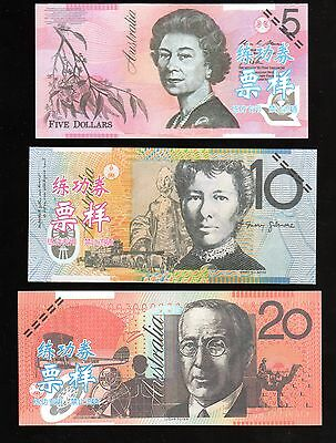 China Banktells' AUSTRALIA,  5 NOTES Training Banknotes/ Paper UNC FROM BUNDLE