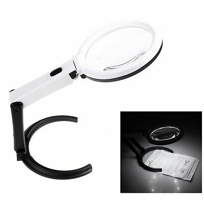 5X Large Magnifying Glass & 10 Light LED LAMP Magnifier Foldable Stand Table New
