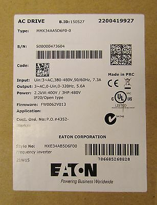 EATON CUTLER HAMMER MMX34AA5D6F0 0 5.6 Amp 3 HP 480V M MAX MMX Frequency Drive