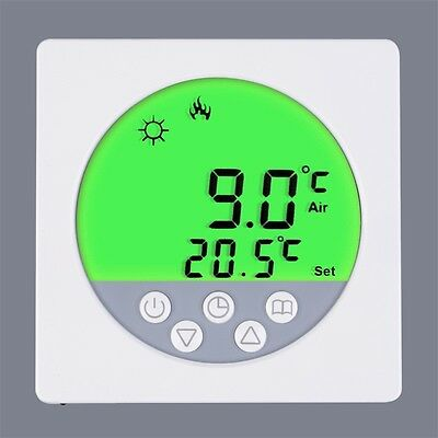 LCD Display Screen Weekly Programmable Heating Thermostat Green Backlet JL