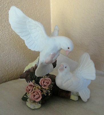 Hand Painted Porcelain Figurine Dove Birds W/ Pink Roses