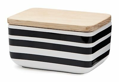 Kahler Omaggio European-Sized Butter Dish - Ceramic with Oak Lid