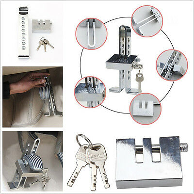 Chrome Stainless Steel Car Autos Clutch Brake Security 8 Hole Lock Antitheft Kit