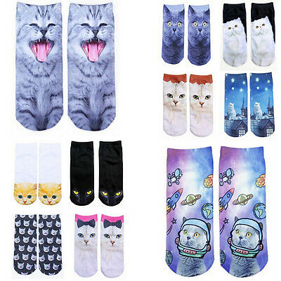 New 3D Print Animal Women Socks Socks Cute Cat Unisex Low Cut Ankle Socks HH
