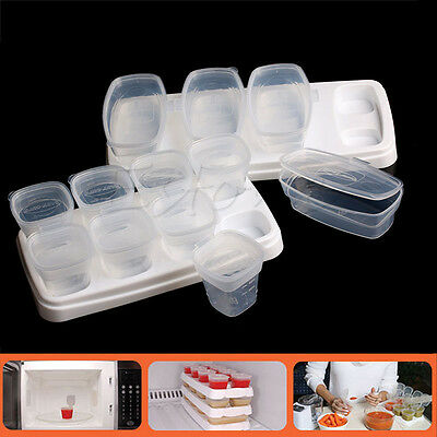 8Pcs Baby Food Freezing Weaning Cubes Tray Pots Freezer Storage Containers Cups