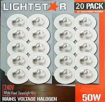 20 Pack x White Fixed Downlight Kits 240V 50W GU10 Halogen Dimmable 70mm cutout